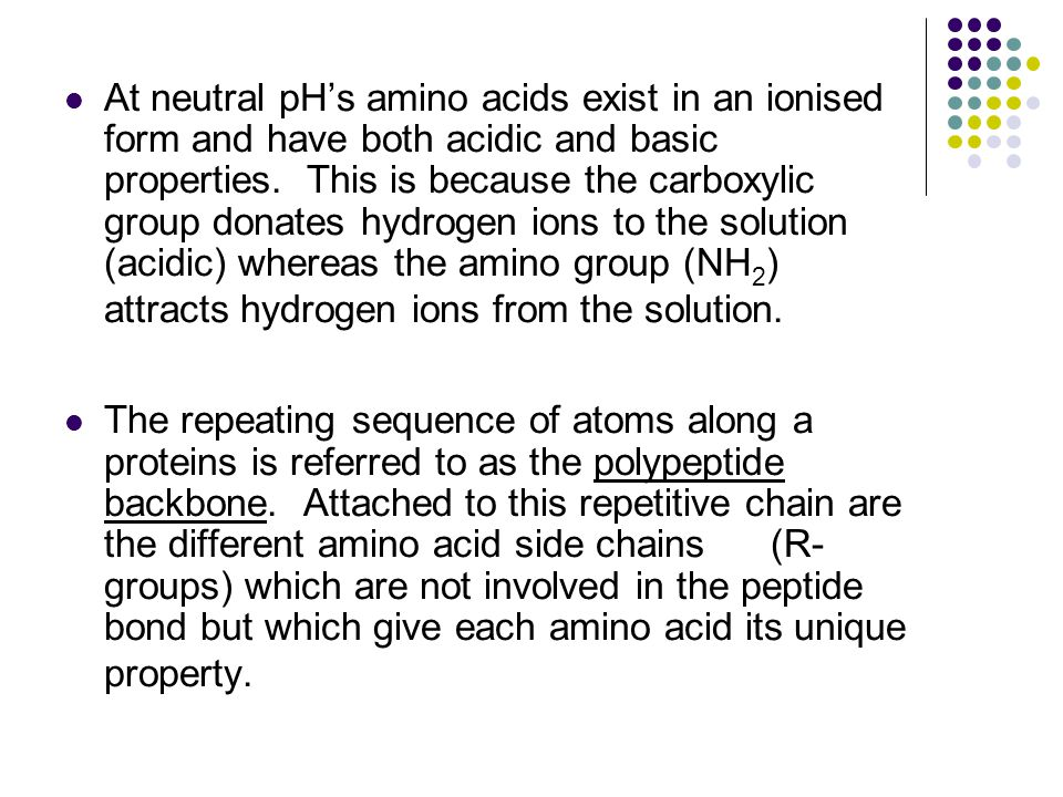 At neutral pH's amino acids exist in an ionised form and have both acidic and basic properties. This is because the carboxylic group donates hydrogen ions to the solution (acidic) whereas the amino group (NH2) attracts hydrogen ions from the solution.
