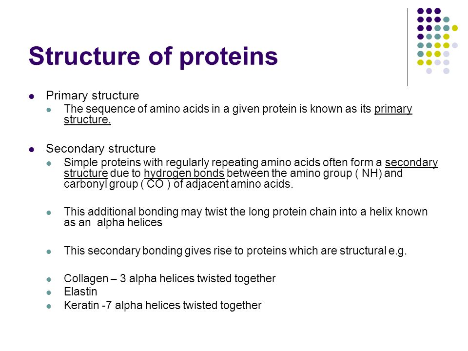 Structure of proteins Primary structure Secondary structure
