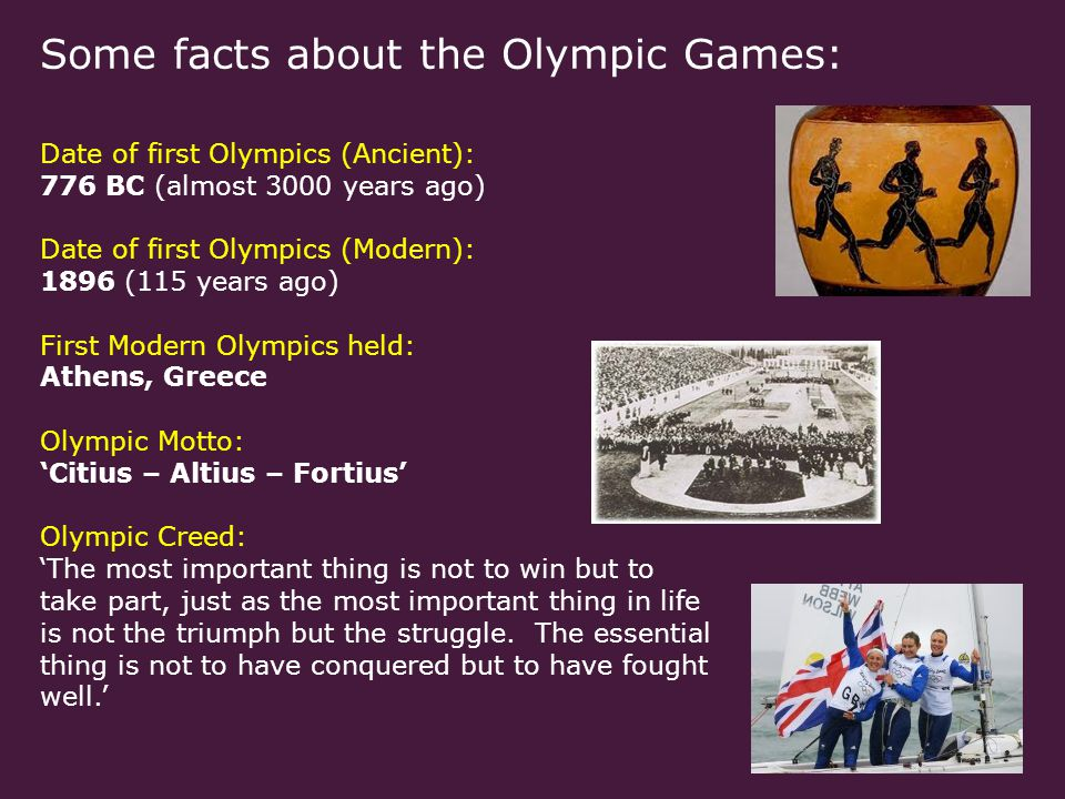 Some facts about the Olympic Games: