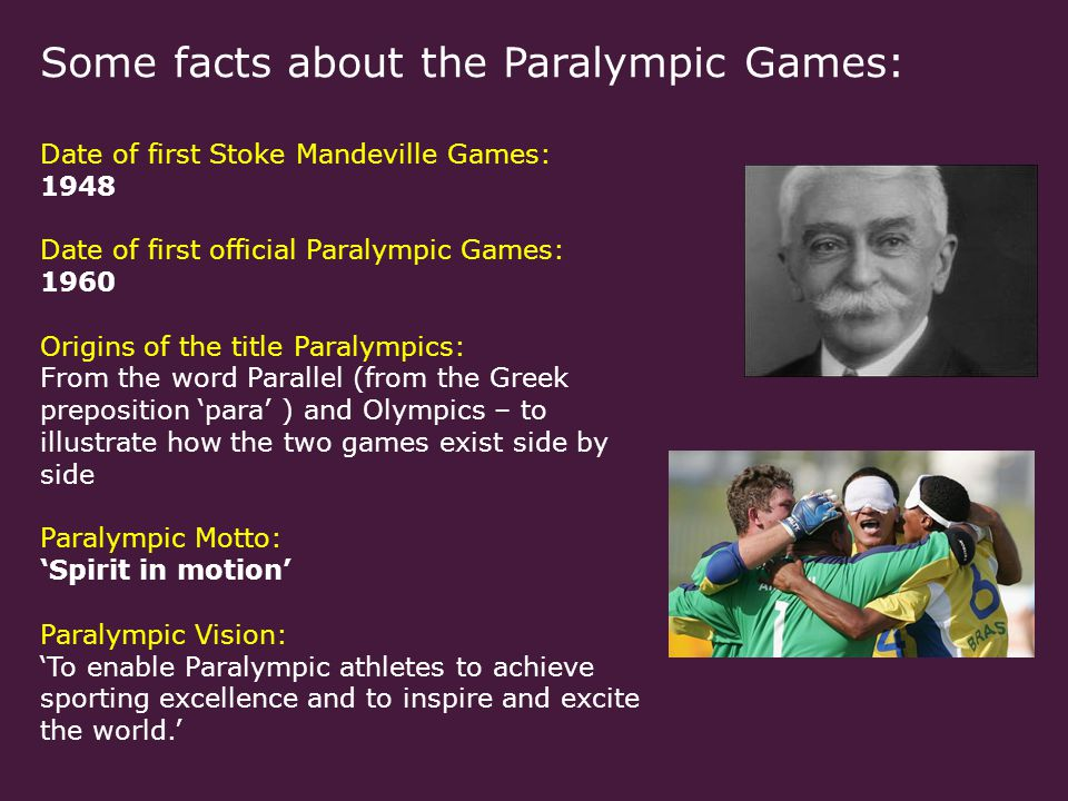Some facts about the Paralympic Games: