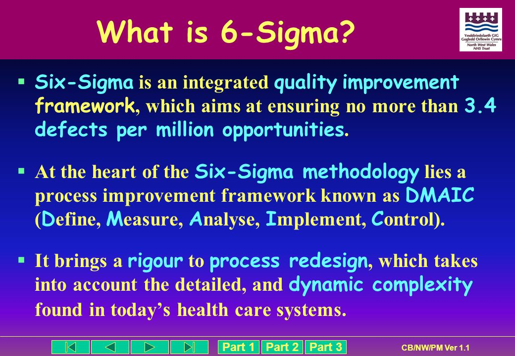 What is 6-Sigma Six-Sigma is an integrated quality improvement framework, which aims at ensuring no more than 3.4 defects per million opportunities.