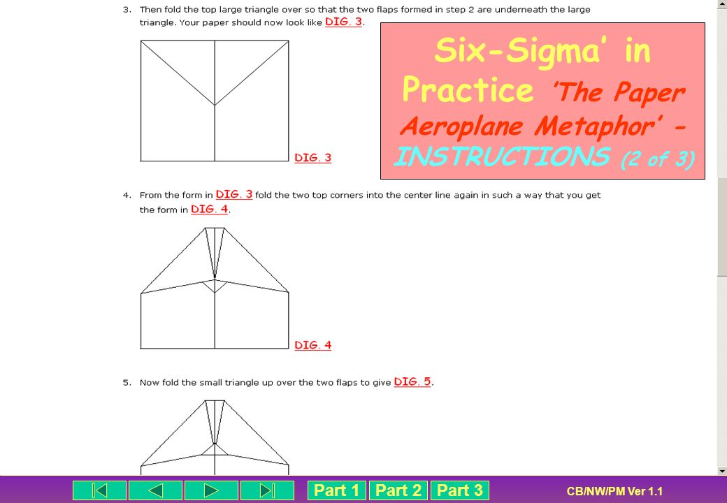 Six-Sigma' in Practice 'The Paper Aeroplane Metaphor' - INSTRUCTIONS (2 of 3)