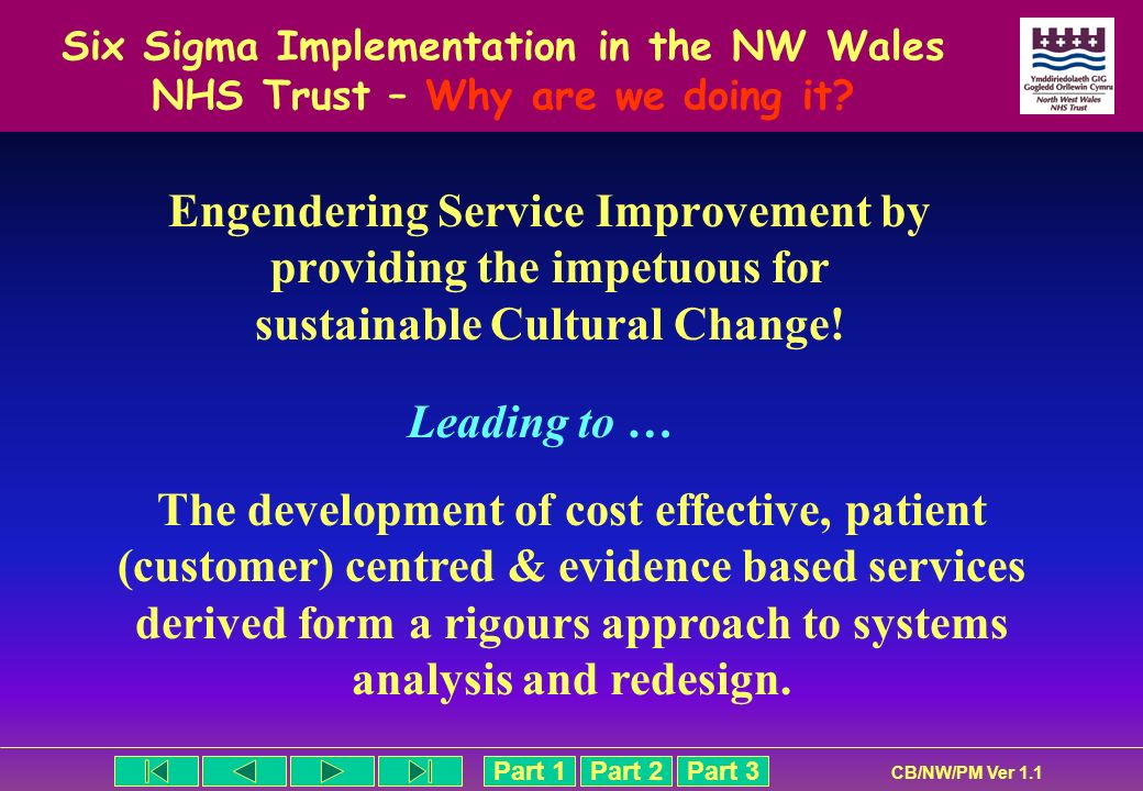 Six Sigma Implementation in the NW Wales NHS Trust – Why are we doing it