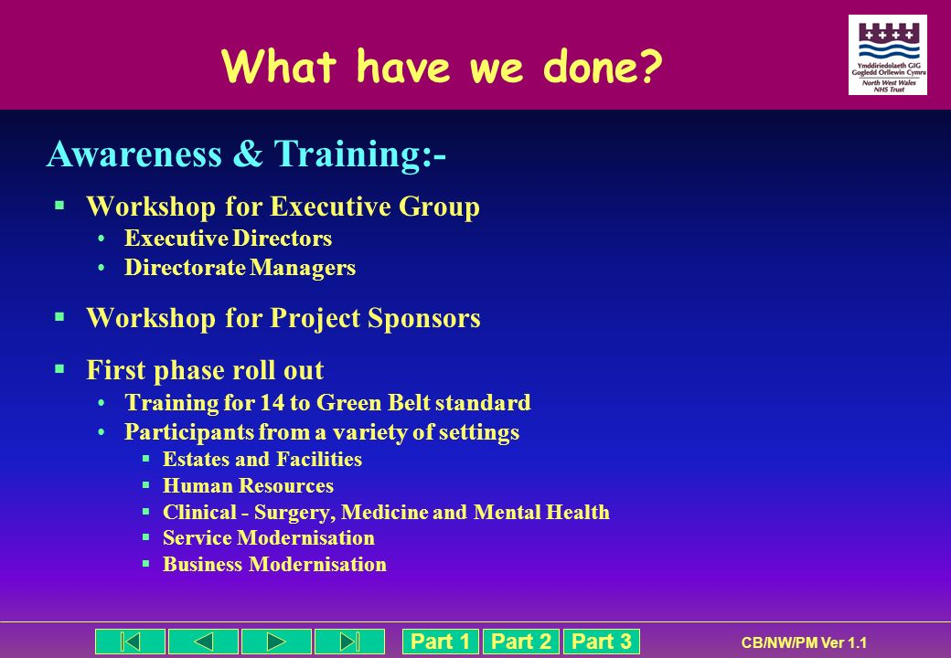 What have we done Awareness & Training:- Workshop for Executive Group