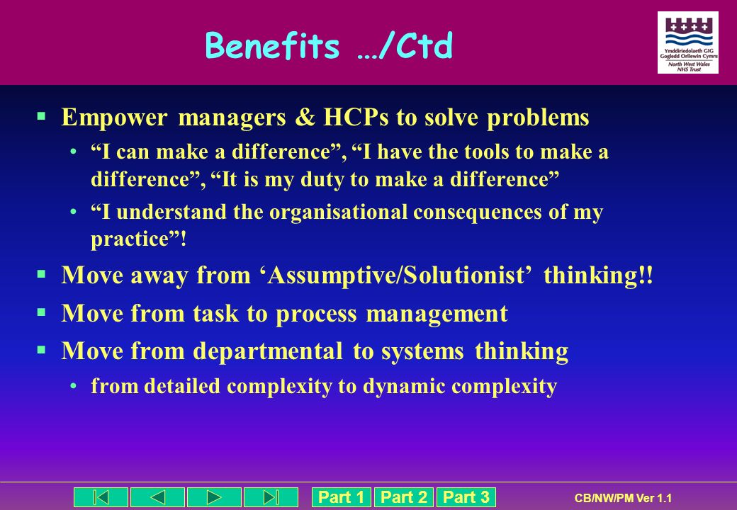 Benefits …/Ctd Empower managers & HCPs to solve problems