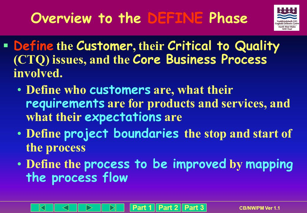Overview to the DEFINE Phase