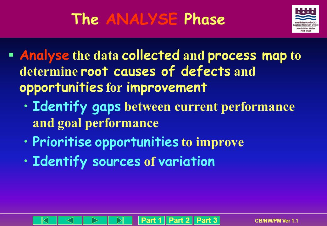 The ANALYSE Phase Analyse the data collected and process map to determine root causes of defects and opportunities for improvement.