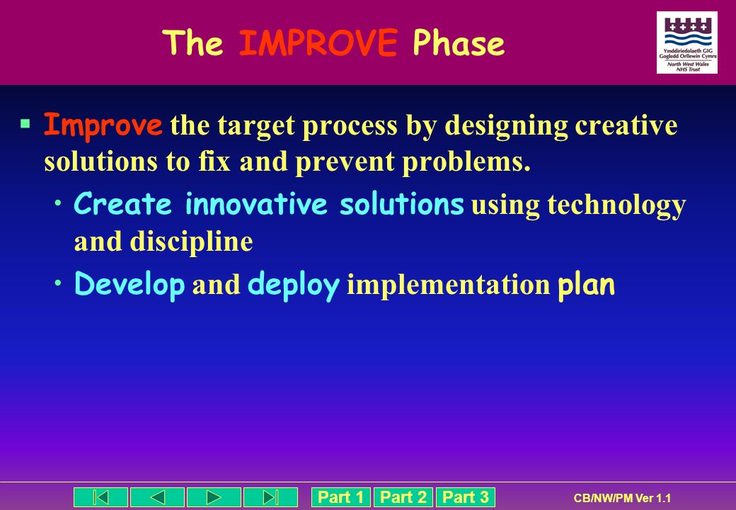 The IMPROVE Phase Improve the target process by designing creative solutions to fix and prevent problems.