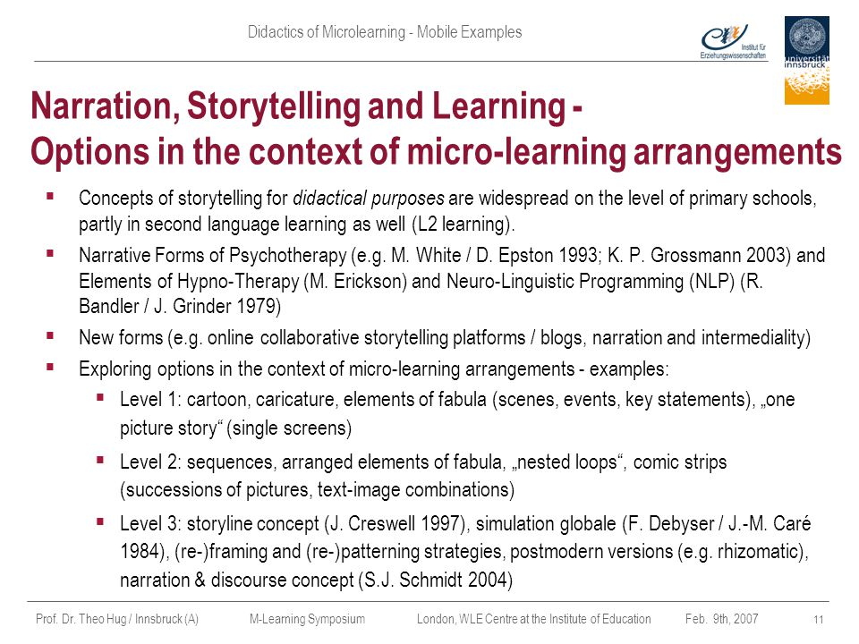 Apr-17 Narration, Storytelling and Learning - Options in the context of micro-learning arrangements.