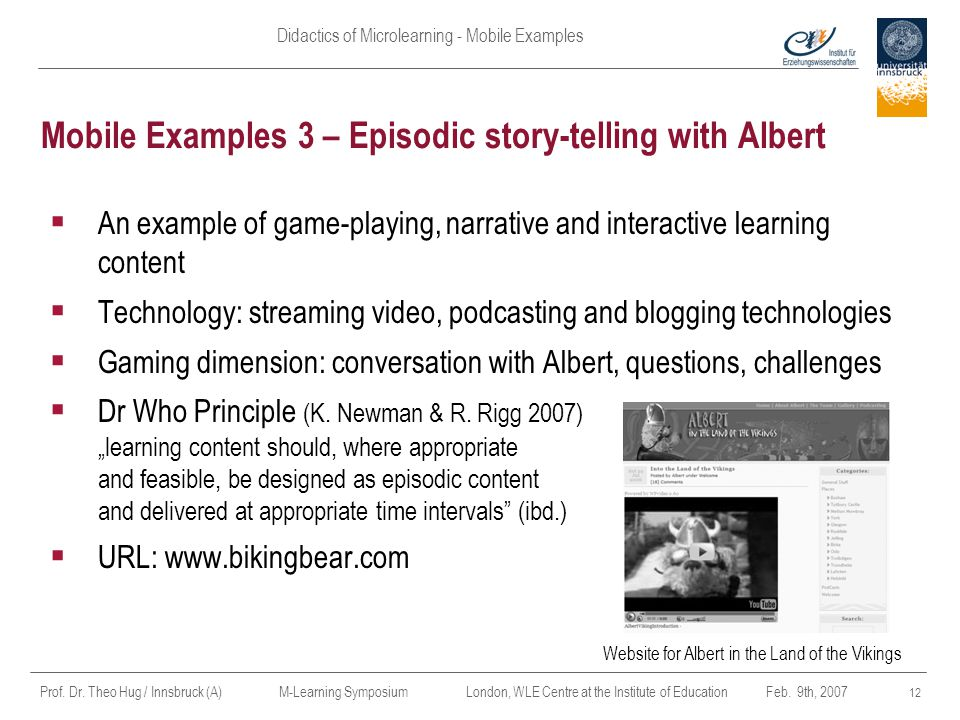 Mobile Examples 3 – Episodic story-telling with Albert
