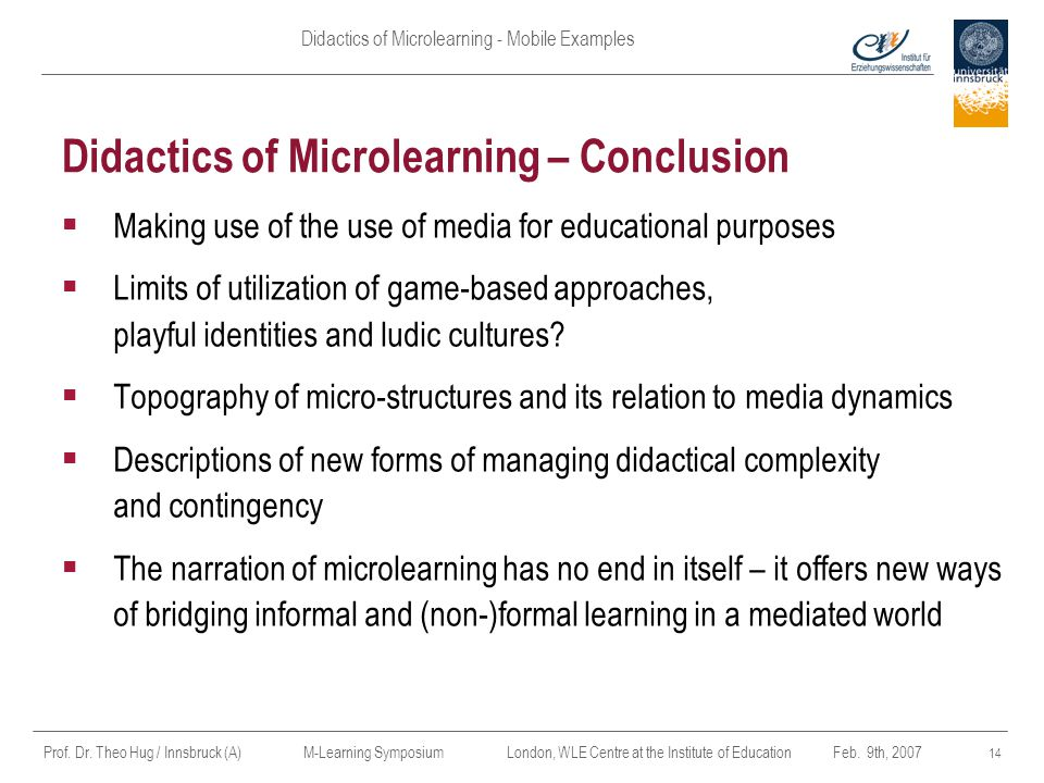 Didactics of Microlearning – Conclusion