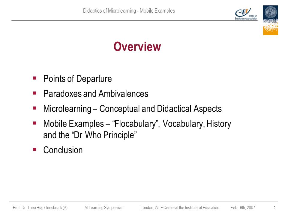 Overview Points of Departure Paradoxes and Ambivalences