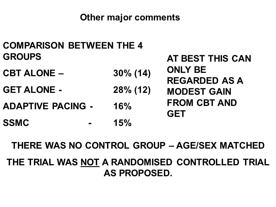 COMPARISON BETWEEN THE 4 GROUPS CBT ALONE – 30% (14)