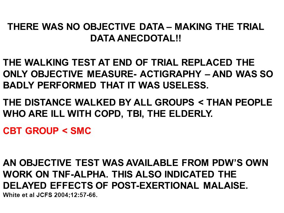 THERE WAS NO OBJECTIVE DATA – MAKING THE TRIAL DATA ANECDOTAL!!