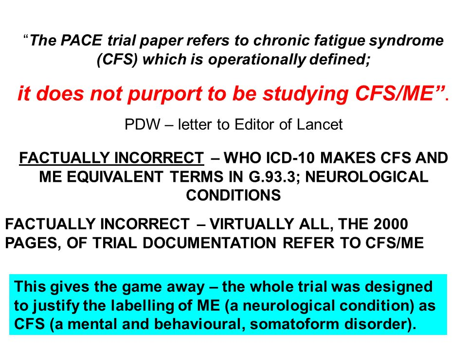 it does not purport to be studying CFS/ME .
