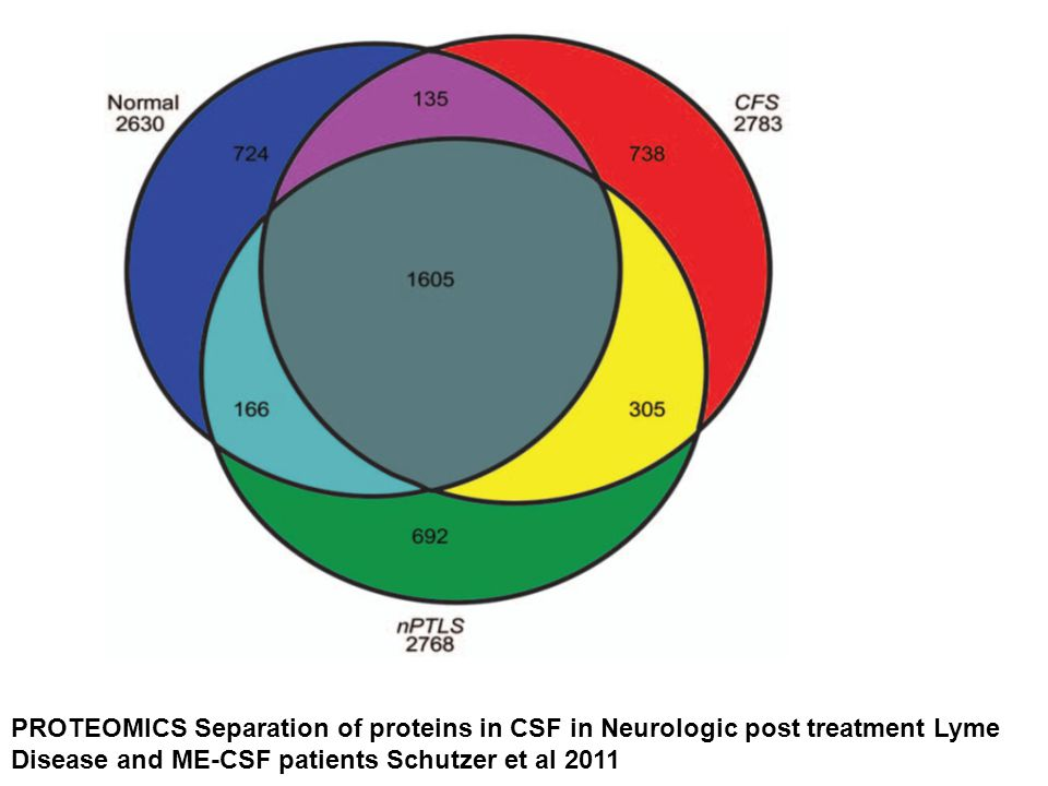 PROTEOMICS Separation of proteins in CSF in Neurologic post treatment Lyme Disease and ME-CSF patients Schutzer et al 2011