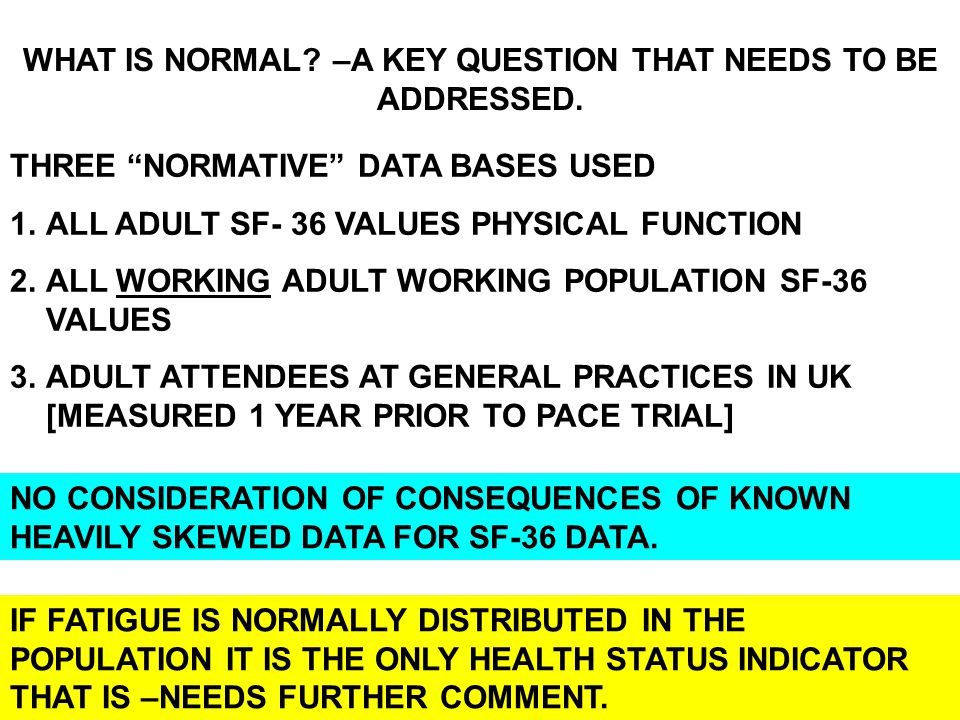 WHAT IS NORMAL –A KEY QUESTION THAT NEEDS TO BE ADDRESSED.