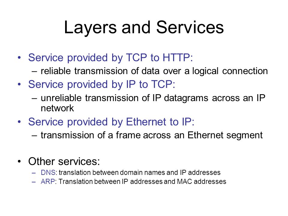 Layers and Services Service provided by TCP to HTTP: