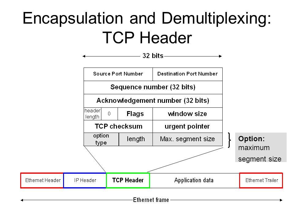 Encapsulation and Demultiplexing: TCP Header