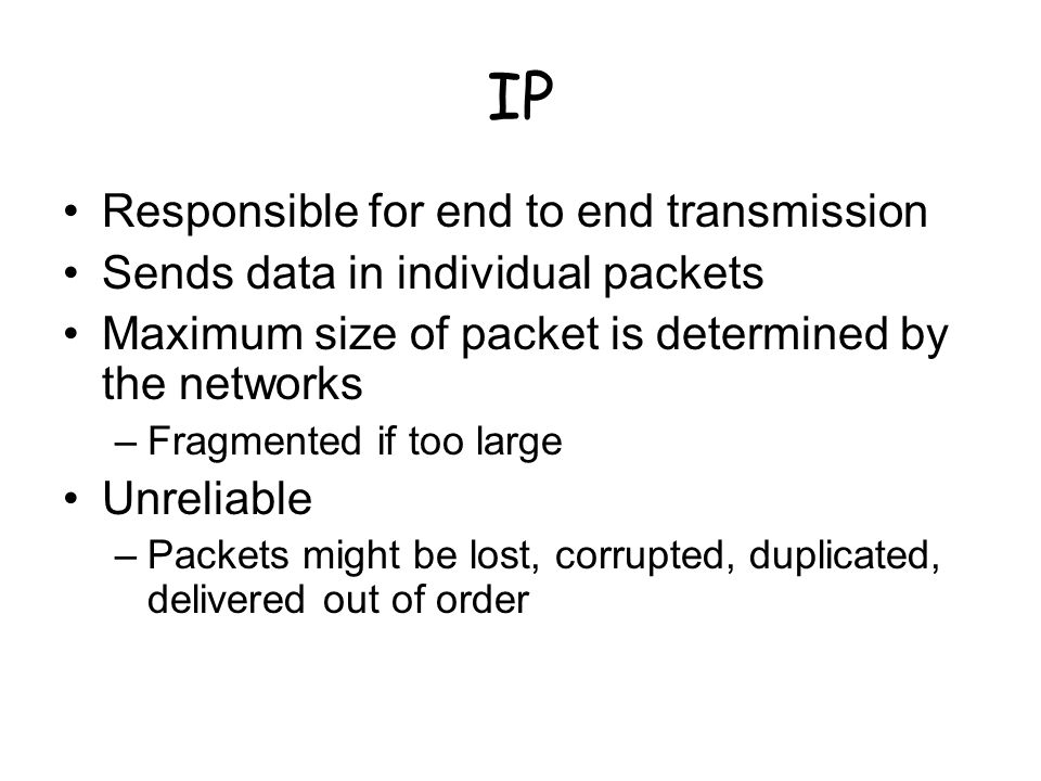 IP Responsible for end to end transmission