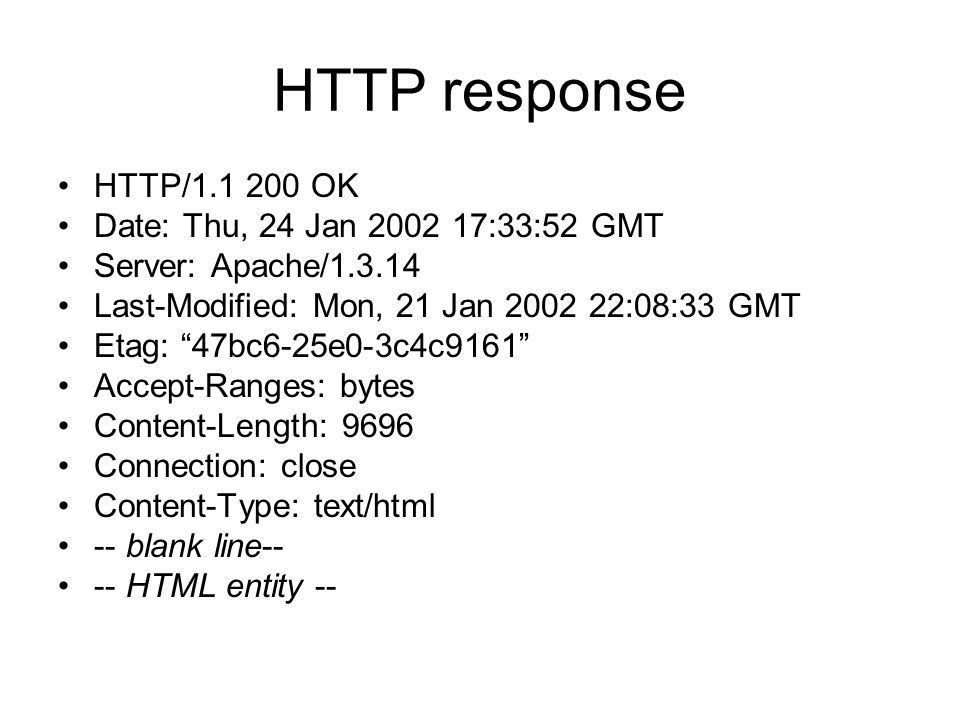 HTTP response HTTP/1.1 200 OK Date: Thu, 24 Jan 2002 17:33:52 GMT