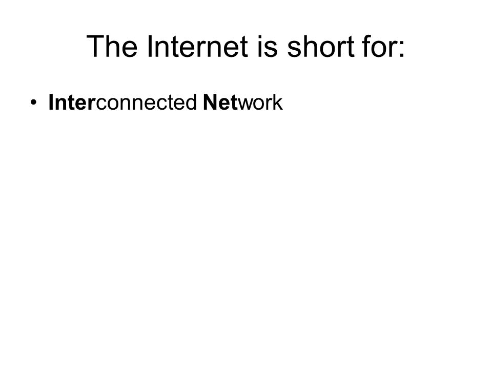 The Internet is short for: