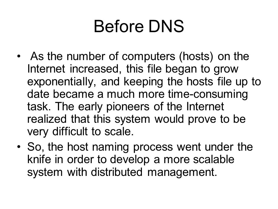 Before DNS