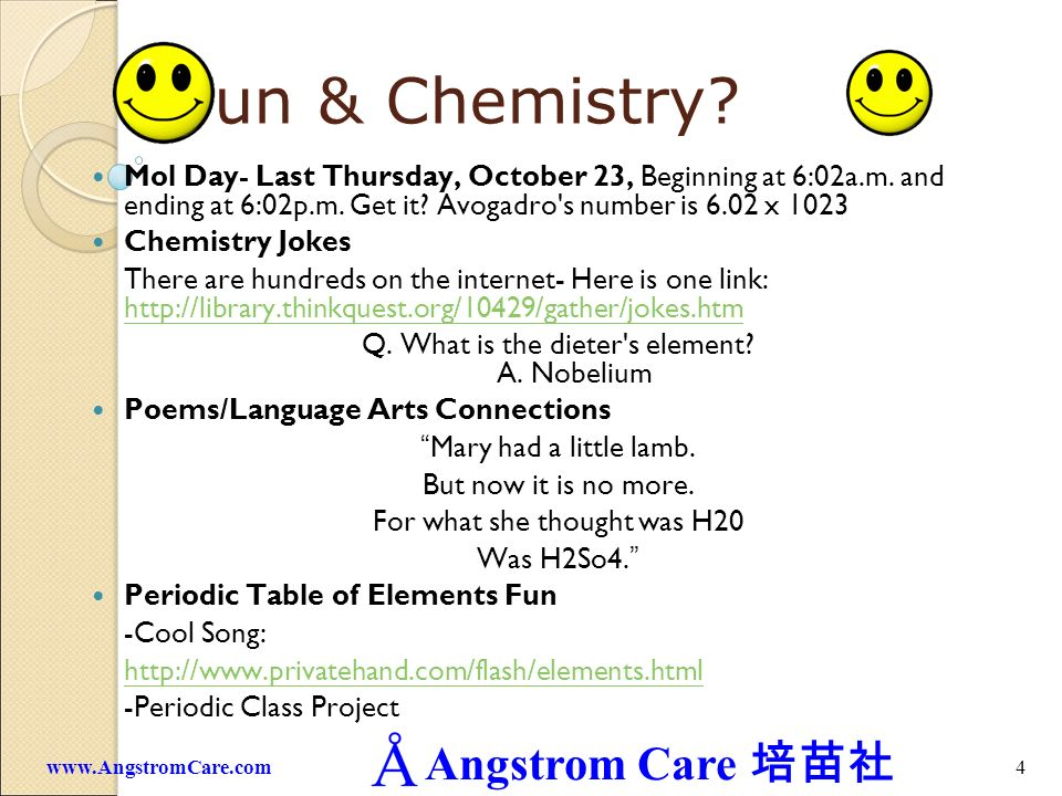 Fun & Chemistry Mol Day- Last Thursday, October 23, Beginning at 6:02a.m. and ending at 6:02p.m. Get it Avogadro s number is 6.02 x 1023.