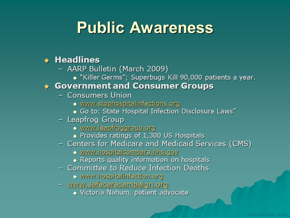 Public Awareness Headlines Government and Consumer Groups