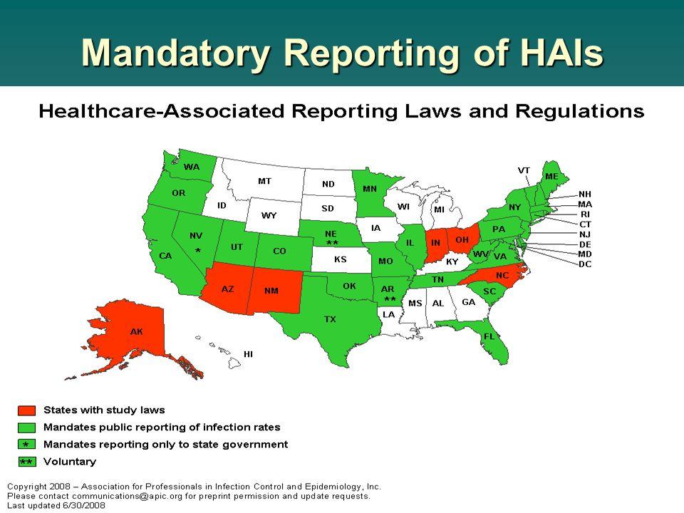 Mandatory Reporting of HAIs