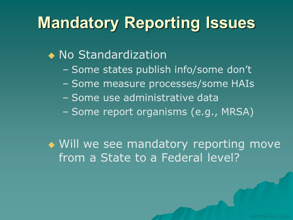 Mandatory Reporting Issues
