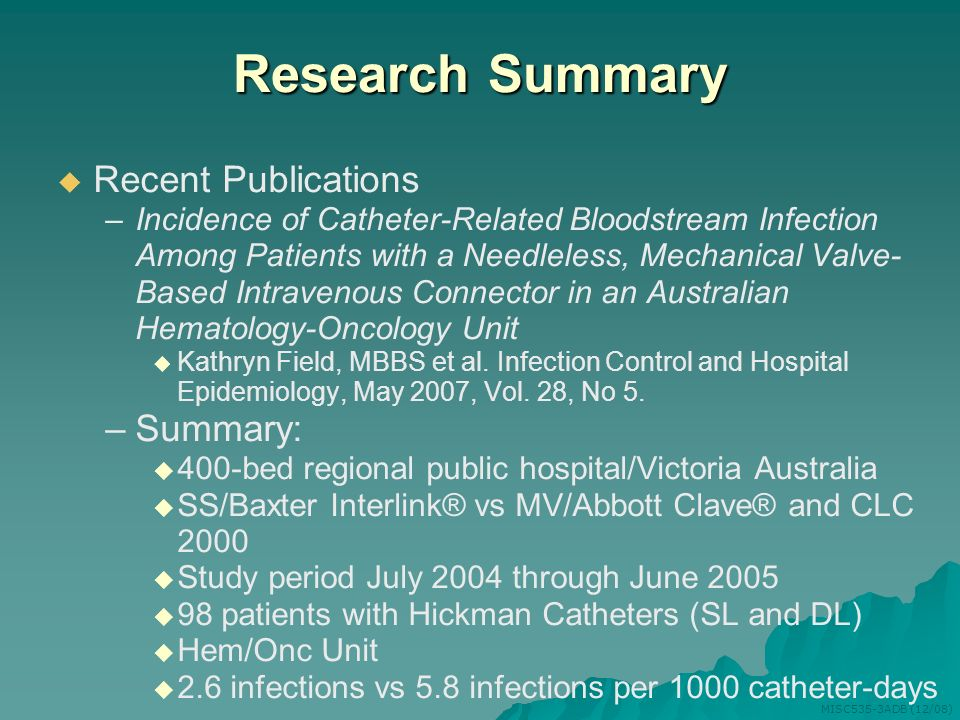 Research Summary Recent Publications Summary: