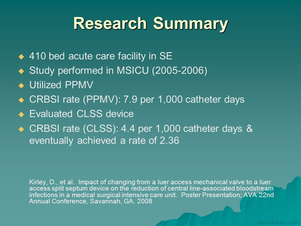 Research Summary 410 bed acute care facility in SE