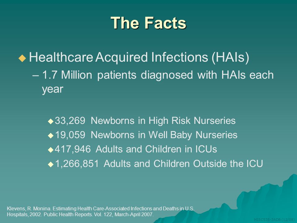 The Facts Healthcare Acquired Infections (HAIs)