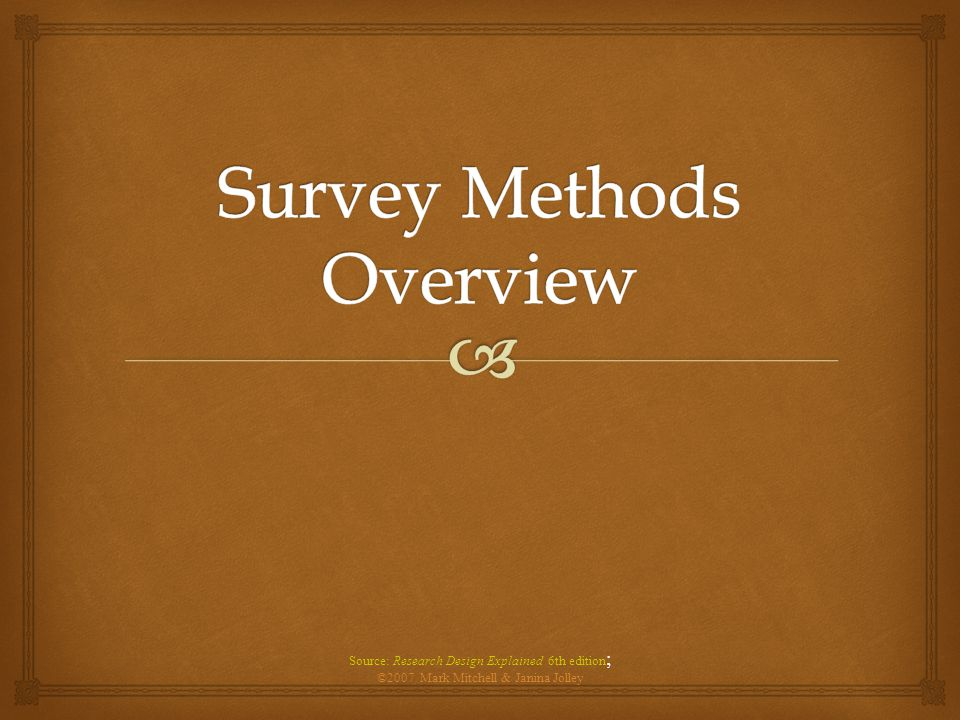 Survey Methods Overview