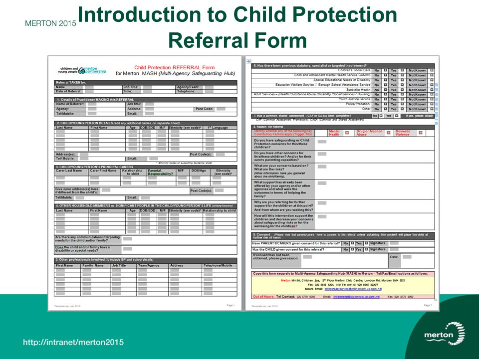 Introduction to Child Protection Referral Form