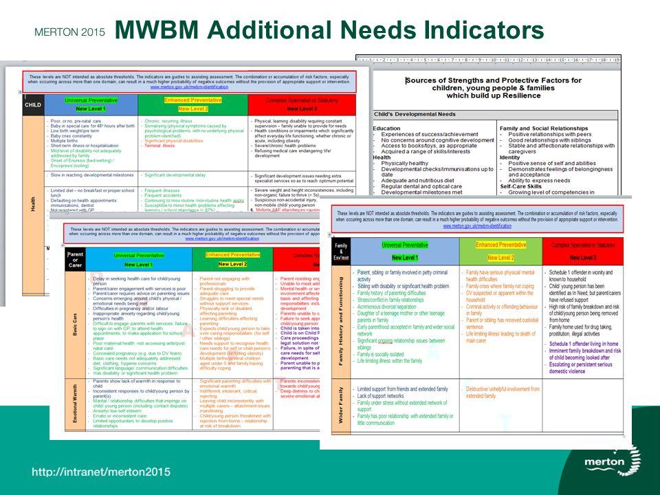 MWBM Additional Needs Indicators