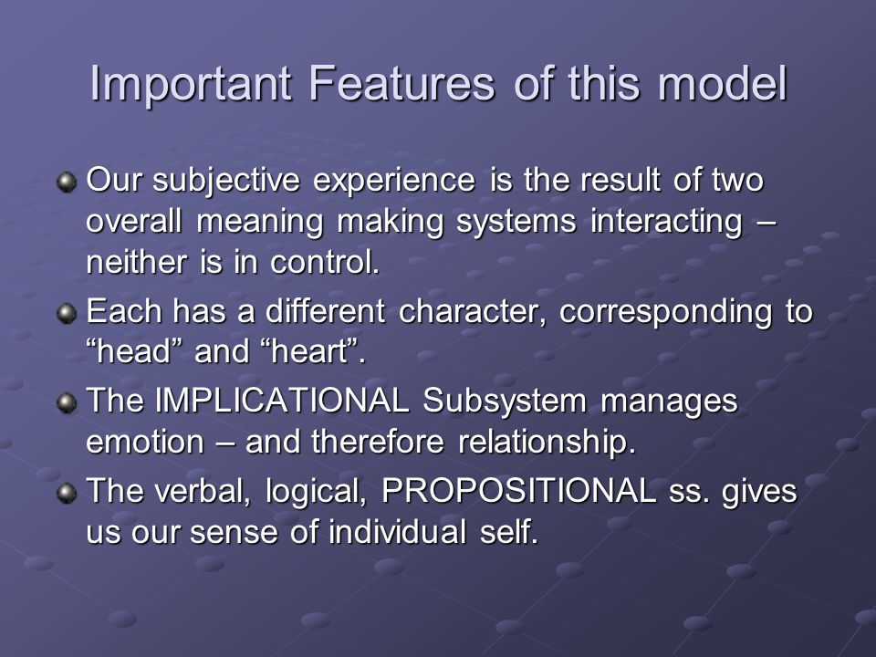 Important Features of this model
