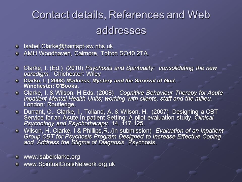 Contact details, References and Web addresses