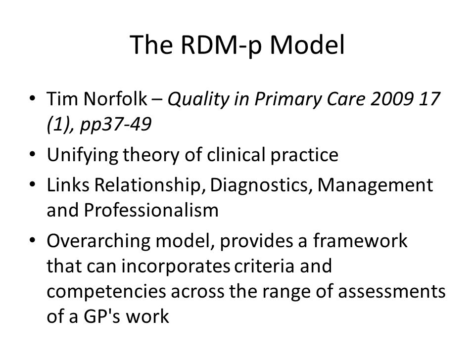 The RDM-p Model Tim Norfolk – Quality in Primary Care 2009 17 (1), pp37-49. Unifying theory of clinical practice.