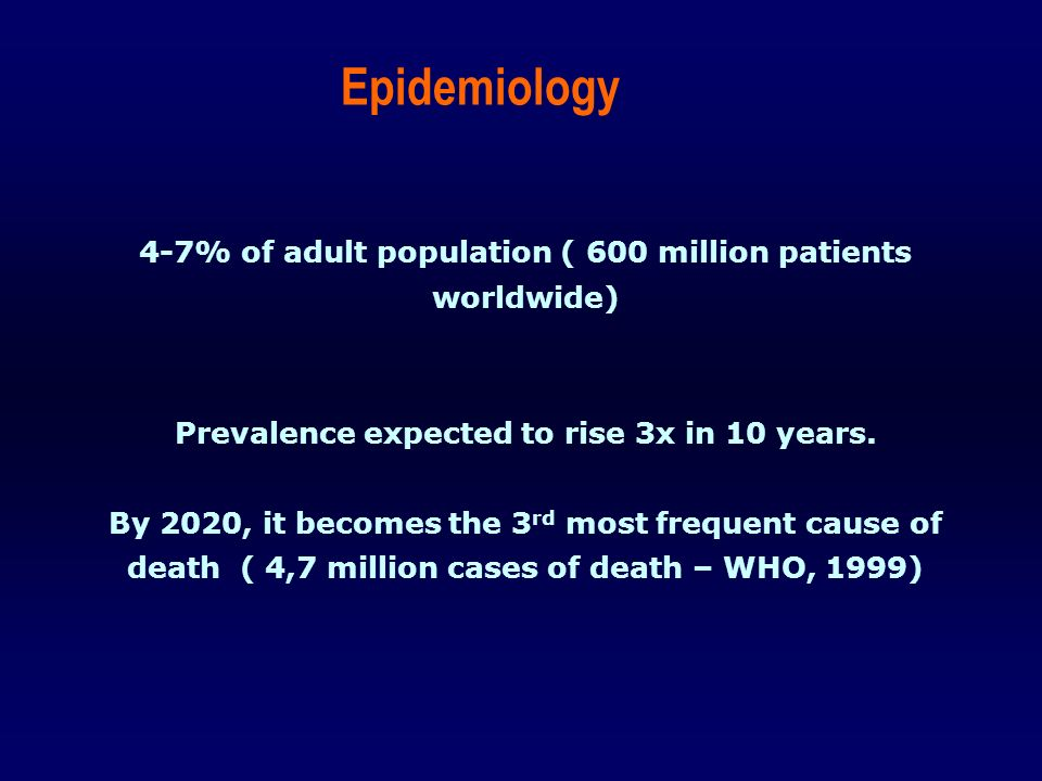Epidemiology 4-7% of adult population ( 600 million patients worldwide) Prevalence expected to rise 3x in 10 years.