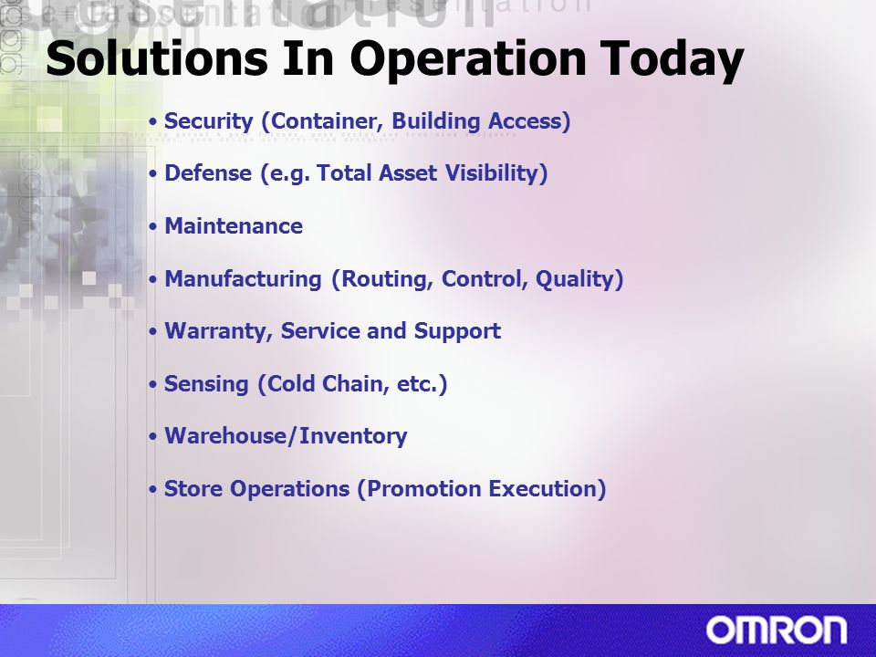 Solutions In Operation Today