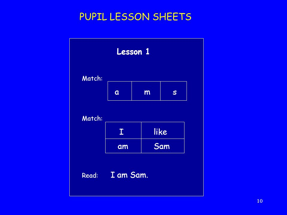 PUPIL LESSON SHEETS am Sam Lesson 1 a m s I like Match: