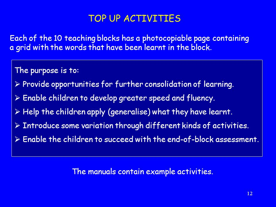 TOP UP ACTIVITIES Each of the 10 teaching blocks has a photocopiable page containing a grid with the words that have been learnt in the block.