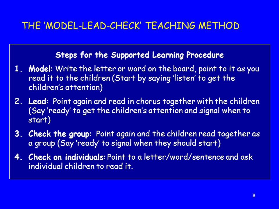Steps for the Supported Learning Procedure