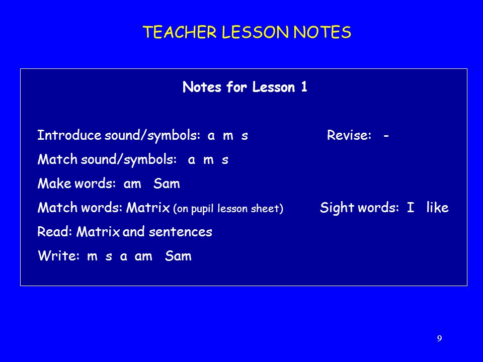TEACHER LESSON NOTES Notes for Lesson 1