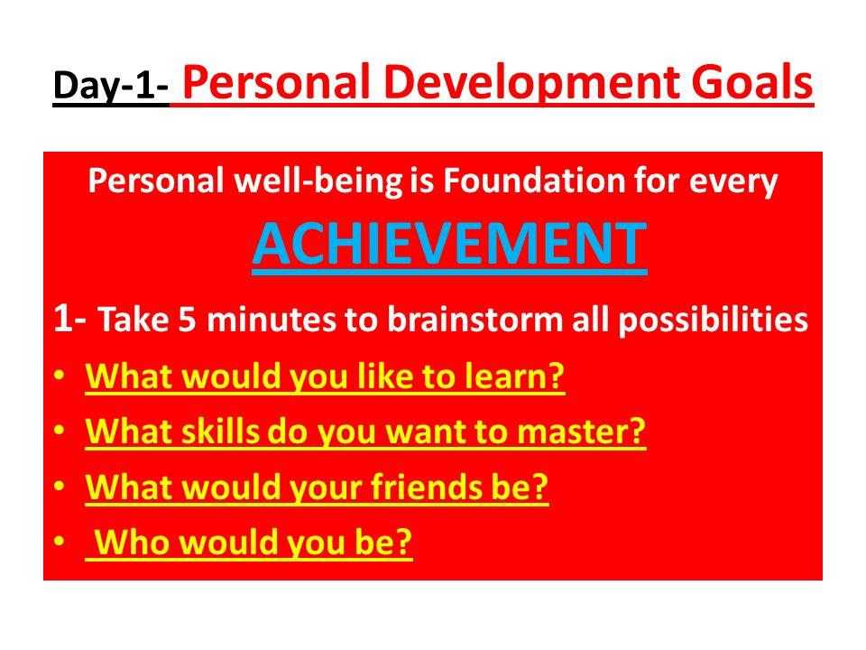 Day-1- Personal Development Goals