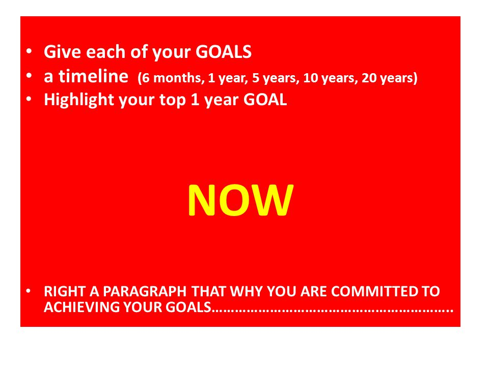 NOW Give each of your GOALS