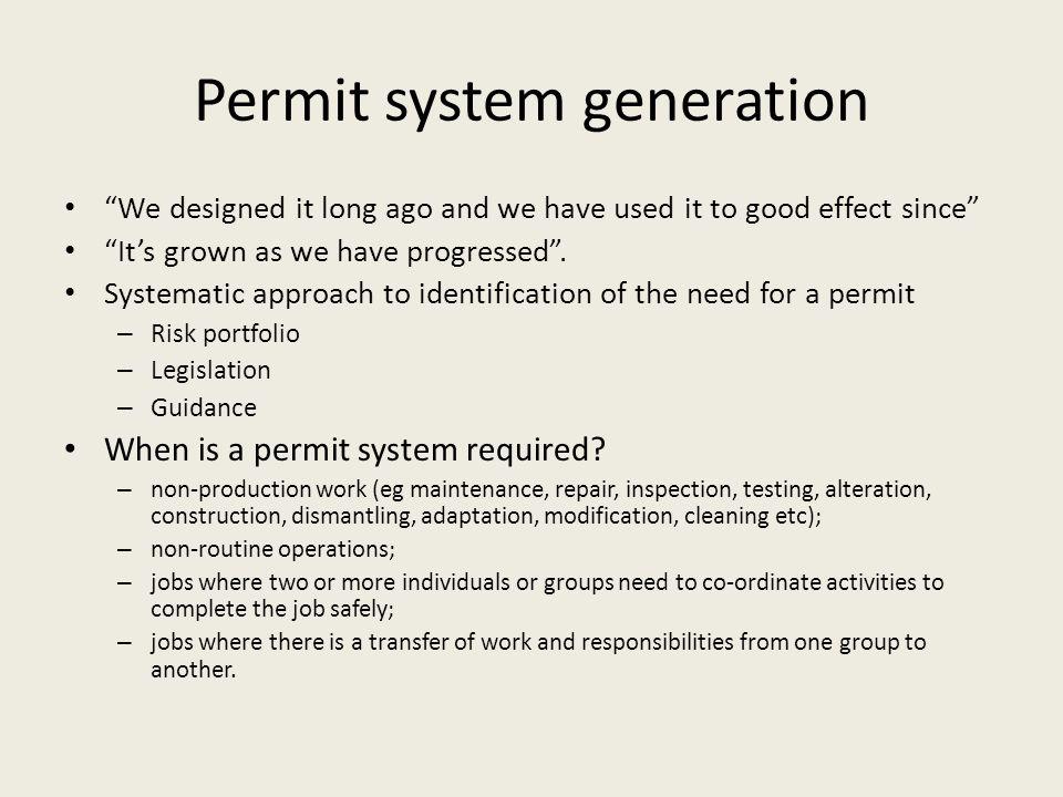 Permit system generation
