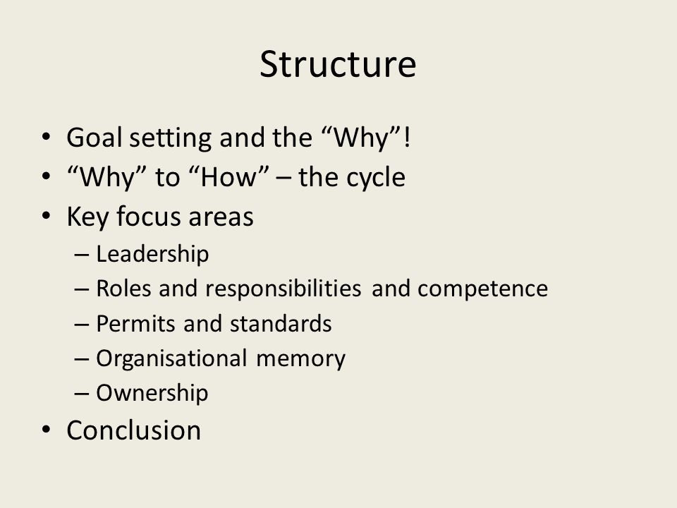 Structure Goal setting and the Why ! Why to How – the cycle